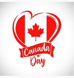 Happy canada day heart ribbon vector