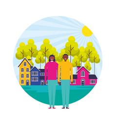 happy couple suburban neighborhood landscape vector image