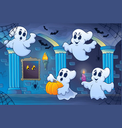 Haunted castle interior theme 6 vector