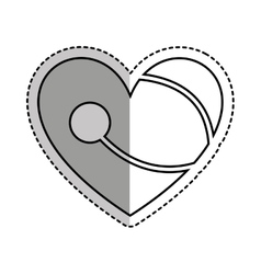 Heart with stethoscope icon vector