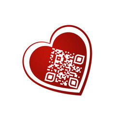 I love you qr code in red heart on white vector