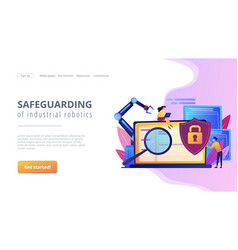 Industrial cybersecurity concept landing page vector