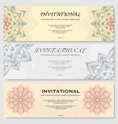Invitational cards set vector