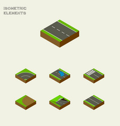 Isometric road set of plash bitumen single-lane vector