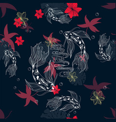 Japanese doodle seamless pattern with koi carp vector