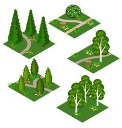 Landscape isometric tile set cartoon or game asset vector