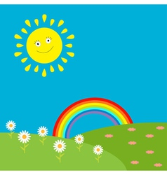Landscape with sun rainbow and flowers vector