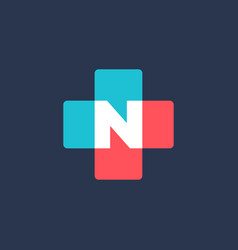 Letter n cross plus medical logo icon design vector