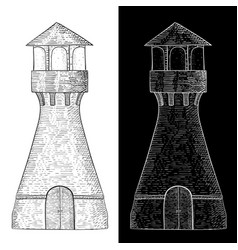 lighthouse hand drawn vintage sketch vector image