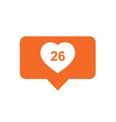 Like comment follower icon orange flat with heart vector