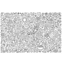 Line art doodle cartoon set baobjects vector