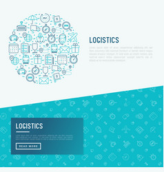 Logistics concept in circle with thin line icons vector
