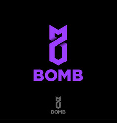 Logo bomb origami digital vector