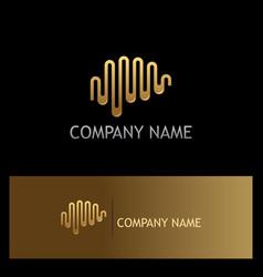 longitudinal wave abstract gold logo vector image