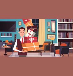 man holding pile of gift boxes walking through vector image