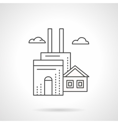 Manufacturing factory flat line icon vector