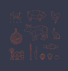 meat menu flat design elements blue vector image