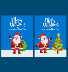 merry xmas happy new year poster santa tree bag vector image
