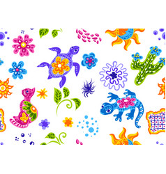 Mexican pattern with cute naive art items vector