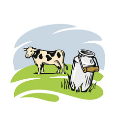 Milk cans with cow vector