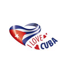 National flag cuba in shape a heart vector