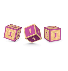 Number 1 wooden alphabet blocks vector