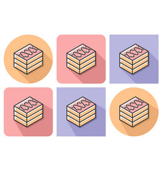 outlined icon of cake with parallel and not vector image