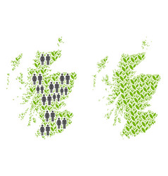 People and flora scotland map vector