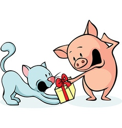 Pig and cat fighting for gift - cheerful vector