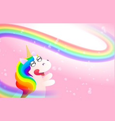 pink background with cute unicorn rainbow vector image