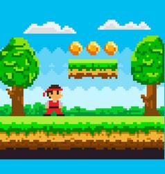 Pixel-game ninja male brave character pixelated vector