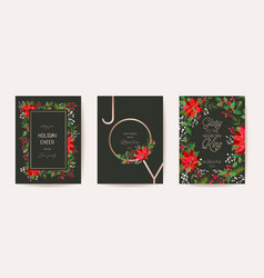 poinsettia christmas card floral happy new vector image