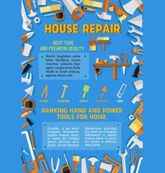 Poster of house repair handyman work tools vector