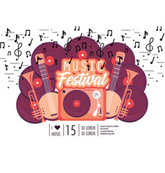 radio with manjos and trumpets to music festival vector image