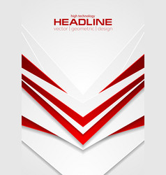 Red and white abstract tech arrows flyer vector