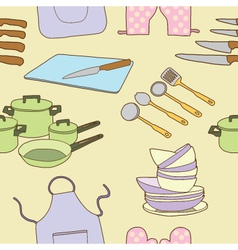 Seamless of kitchen tool vector image
