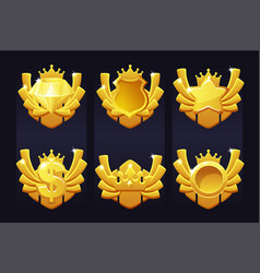 set golden awards with icons crown dollar vector image