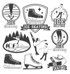 set ice skating emblems badges logos vector image