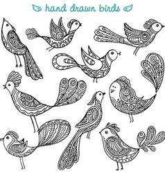 Set of cute ornamental hand drawn birds vector image