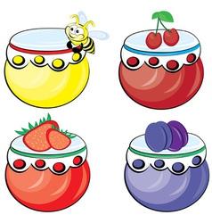 set of fruit jams vector image