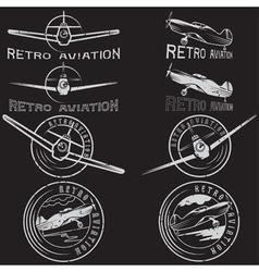 Set of grunge vintage labels retro aviaton vector