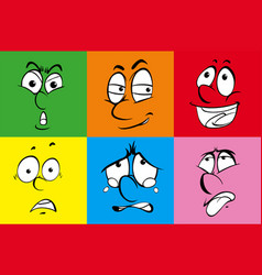 set of six faces on color background vector image