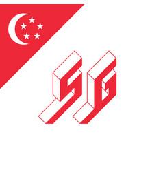 sg - international 2-letter code or national vector image