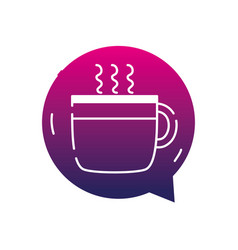 Silhouette hot coffee cup inside chat bubble vector