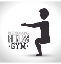 Silhouette man exercise squats bodybuilding vector