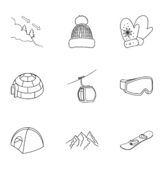 Ski resort set icons in outline style Big vector