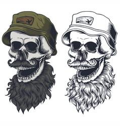 skull beard mustache wear hat vector image