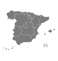 Spain map with provinces grey vector