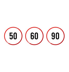 Speed limit sign set - isolated circle vector