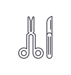surgeons tools line icon concept surgeons tools vector image